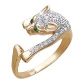 Кольцо Кошка-Пантера с цветными фианитами, красное золото, 585 проба