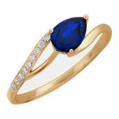 """Красное золото, кольцо, """"Тюльпан"""", цветной камень в форме груши"""