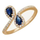 Кольцо Капельки, два цветных камня в форме груши в окружении фианитов, красное золото