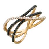 Кольцо с прозрачными и чёрными фианитами, красное золото
