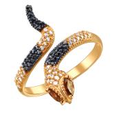 Кольцо Змея с черными, прозрачными и коричневыми фианитами, красное золото