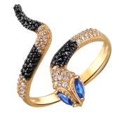 Кольцо Змея с черными, прозрачными и синими фианитами, красное золото