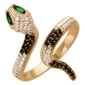 Кольцо Змея с белыми и черными фианитами, глаза синие и зеленые, красное золото