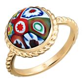 Кольцо с круглым цветным Мурано, канатная шинка, красное золото