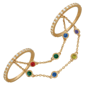 Кольца для рук с браслетами Панье, цветные фианиты и красное золото
