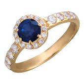 Кольцо Принцесса с фианитами и круглым цветным камнем (синий, красный, зеленый), красное золото