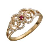 Кольцо Индия с фианитом и синтетическим рубином, красное золото