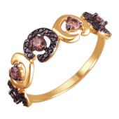 Кольцо Леопардовое пятнышко с коричневыми фианитами из красного золота