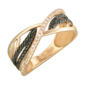 Кольцо с черными и прозрачными фианитами, красное золото