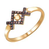 Кольцо африканский узор с коричневыми фианитами из красного золота