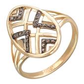 Кольцо Африка с коричневыми фианитами, красное золото