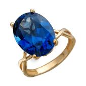 Кольцо с большим овальным наноситалом Сапфир, красное золото