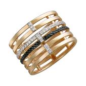 Кольцо из шести колец с дорожками из черных и прозрачных фианитов, красное золото