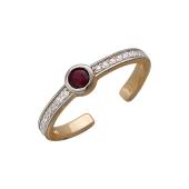 Кольцо с синтетическим рубином и фианитами, красное золото