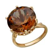 Кольцо с большим круглым наноситалом Гиацинт, красное золото