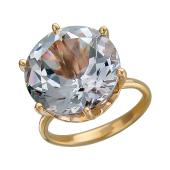 Кольцо с большим круглым наноситалом Аметист, красное золото