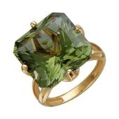 Кольцо с наноситаллом Султанит из красного золота