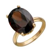 Кольцо с большим овальным наноситалом Гранат, красное золото