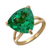 Кольцо с большим треугольным наноситалом Изумруд, красное золото