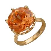 Кольцо с большим круглым наноситалом Топаз, красное золото
