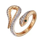 Кольцо разомкнутое Змея с фианитами и зелеными (чёрными) глазами, красное золото