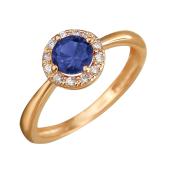 Кольцо Принцесса с сапфировым и прозрачными фианитами из красного золота