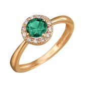 Кольцо Принцесса с изумрудным и прозрачными фианитами из красного золота