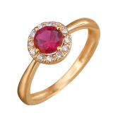Кольцо Принцесса с корундом рубиновым (синтетическим шпинелем) и фианитами, красное золото