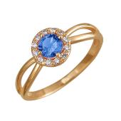 Кольцо с голубым и прозрачными фианитами, красное золото 585 пробы