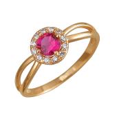 Кольцо Принцесса с корундом рубиновым и фианитами, красное золото