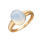 Кольцо с наноситаллом Лунный Опал огранки кабошон, красное золото