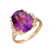 Кольцо с наноситалом шпинель и фианитами, красное золото