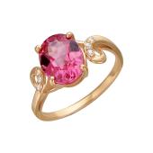 Кольцо с наноситалом Родолит и фианитами, красное золото