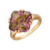 Кольцо с наноситалом хризоберил в огранке Принцесса, красное золото 585 пробы