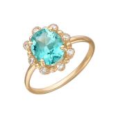 Кольцо Принцесса с наноситалом Параиба и фианитами, красное золото
