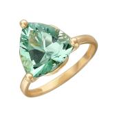 Кольцо с треугольным наноситалом Празиолит, красное золото
