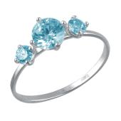 Кольцо с тремя голубыми фианитами, белое золото 585 пробы