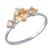 Кольцо с фианитами цвета шампань из белого золота 585 пробы