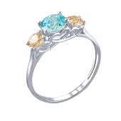 Кольцо с тремя голубым и цвета Шампань фианитами, белое золото 585 пробы