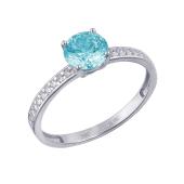 Кольцо с круглым голубым кристаллом Сваровски и фианитами по шинке, белое золото 585 проба