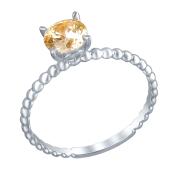 Кольцо канатное Солитер с фианитом цвета Шампань из белого золота