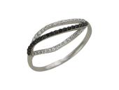 Кольцо с черными и белыми фианитами, белое золото