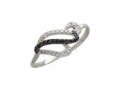 Белое золото, кольцо, дорожка из чёрного и бесцветного фианита