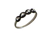 Белое золото, кольцо, дорожка из черного и бесцветного фианита