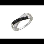Кольцо Икс с черными и прозрачными фианитами из белого золота