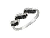 Золотое кольцо, фианиты прозрачные и чёрные, волна