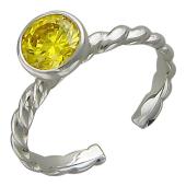 Кольцо на палец ноги с цветным круглым камнем (синий, оранжевый, голубой, желтый, зеленый, сиреневый), белое золото