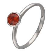 Кольцо с круглым цветным камнем, белое золото