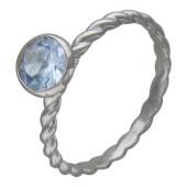 Кольцо с круглым цветным камнем и канатной шинкой, белое золото