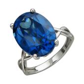 Кольцо с большим овальным наноситалом Сапфир, белое золото